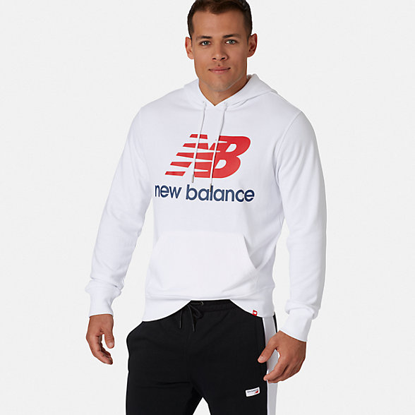 NB Essentials Stacked Logo Pullover Hoodie, MT91547WT