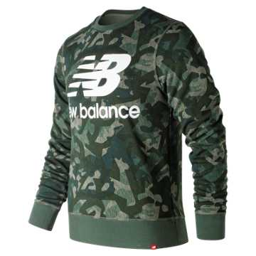 New Balance Essentials Stacked Logo Crew, Mineral Green