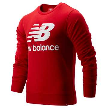 New Balance Essentials Stacked Logo Crew, Team Red