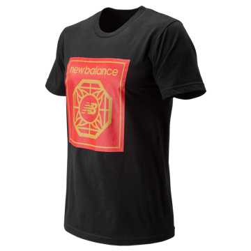 New Balance CNY Tee, Black with Team Red