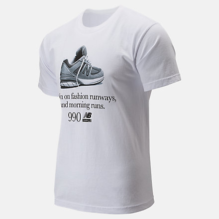 New Balance 990 Fashion Tee, MT91693WT image number null