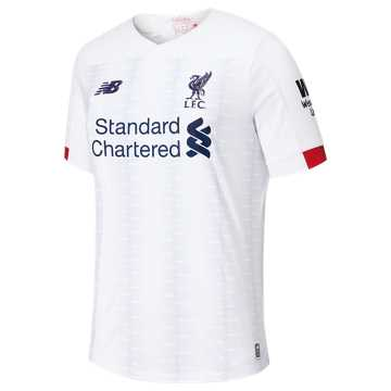 New Balance Liverpool FC Away SS Jersey No EPL Patch, White with Navy & Team Red