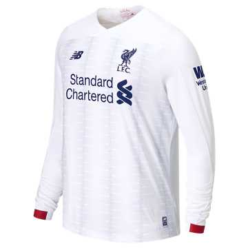 New Balance Liverpool FC Away LS Jersey No EPL Patch, White with Navy & Team Red