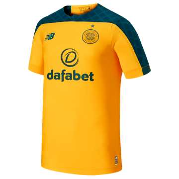 New Balance Celtic FC Away SS Jersey, Yellow with Green