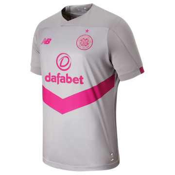 New Balance Celtic FC 3rd SS Jersey, Grey Marl with Peony