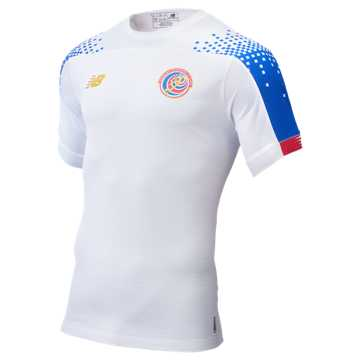 New Balance Costa Rica Away SS Jersey, White with Vivid Cobalt & Red