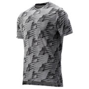 New Balance Printed R.W.T. Heathertech Tee, Black Multi