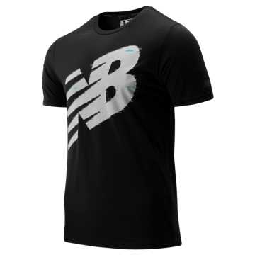 New Balance Graphic Heathertech Tee, Black