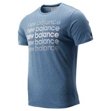 New Balance Graphic Heathertech Tee, Blue