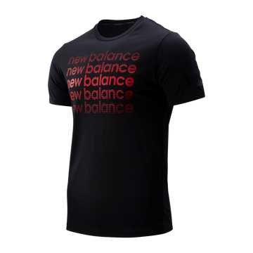 New Balance Graphic Heathertech Tee, Black with Red