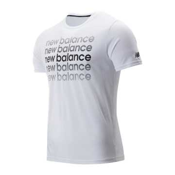 New Balance Graphic Heathertech Tee, White with Black Print