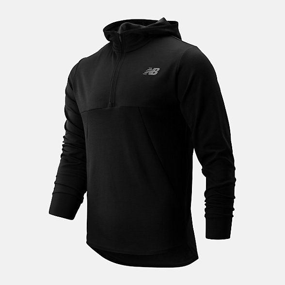 NB Tenacity Hooded QTR Zip, MT93089BK