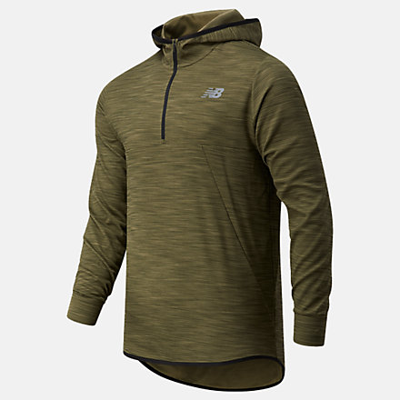 New Balance Tenacity Hooded QTR Zip, MT93089OLG image number null