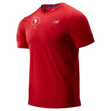 New Balance NYC Marathon Impact Run Mesh Short Sleeve, Team Red Heather