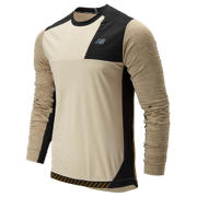 New Balance Q Speed Run Crew Pullover, Tan with Black