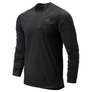 New Balance Q Speed Run Crew Pullover, Black Heather