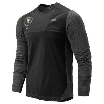 New Balance NYC Marathon Q Speed Run Crew Pullover, Heather Charcoal