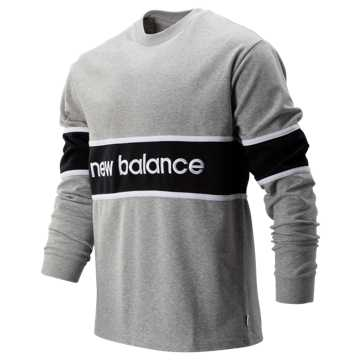 New Balance NB Athletics LS Archive Tee, Athletic Grey with Black