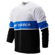 New Balance NB Athletics LS Archive Tee, Black with White & Vivid Cobalt