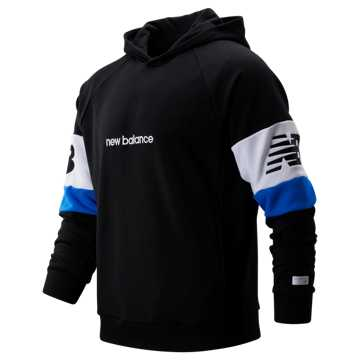 New Balance NB Athletics Classic Hoodie, Black with White & Vivid Cobalt