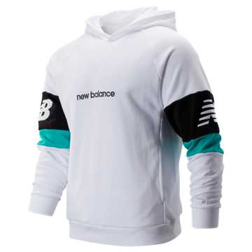 New Balance NB Athletics Classic Hoodie, White with Black & Verdite