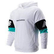 dc63bf1e52803 New Balance NB Athletics Classic Hoodie, White with Black & Verdite
