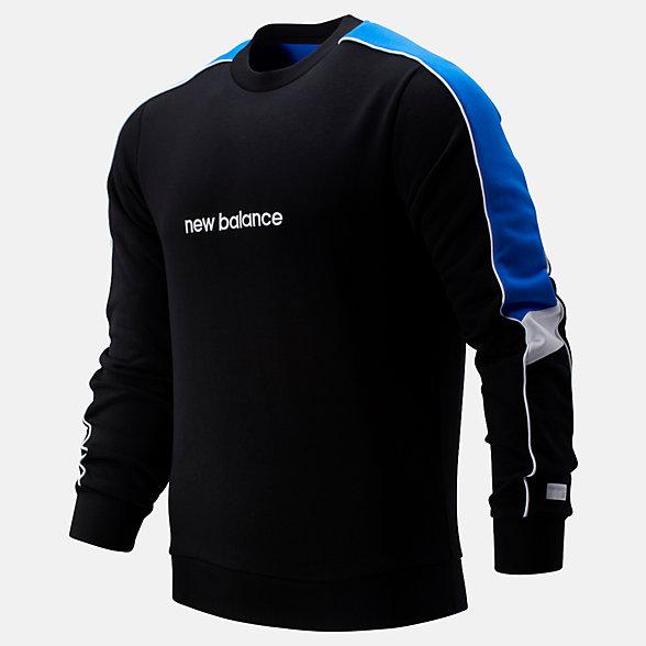 New Balance 男款休闲圆领套头卫衣, MT93504BK