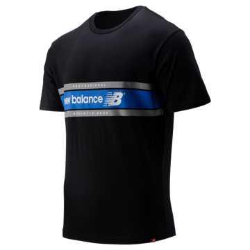 New Balance NB Athletics Arc Tee, Black with Vivid Cobalt