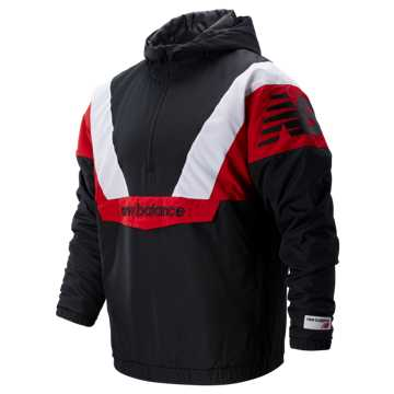 New Balance NB Athletics Stadium Insulated Anorak, Black with Team Red & Sea Salt