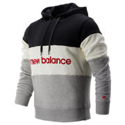New Balance NB Athletics Stadium Hoodie, Black with White & Athletic Grey