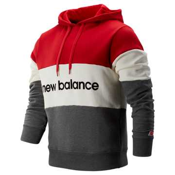 New Balance NB Athletics Stadium Hoodie, Team Red with Sea Salt & Dark Heather Grey