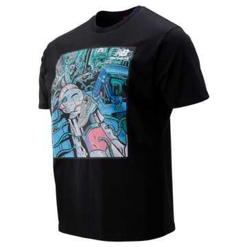 New Balance 男女同款创意印花短袖T恤, BK