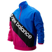 New Balance Sport Style Optiks Anorak, Black Multi with Vivid Cobalt & Carnival