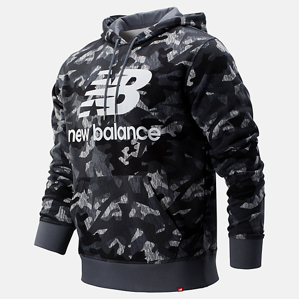 New Balance Printed Essentials Stacked Logo Po Hoodie, MT93582GNM
