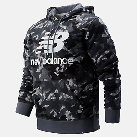 NB Printed Essentials Stacked Logo Po Hoodie, MT93582GNM image number null