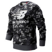 New Balance Printed Essentials Stacked Logo Crew, Gunmetal
