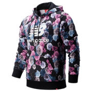 New Balance Printed Essentials In Bloom Po Hoodie, Winter Sky with Black