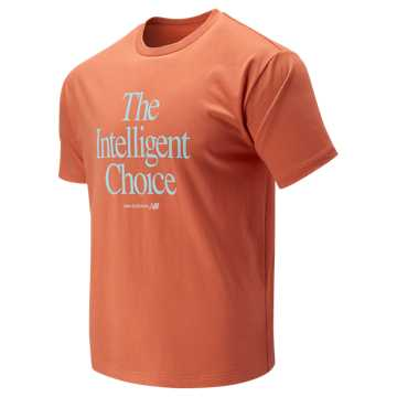New Balance Intelligent Choice Tee, Natural Peach with Ozone Blue Glow