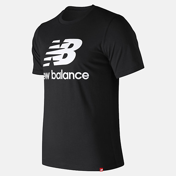 New Balance Essentials Relaxed fit Stacked Logo Tee, MT93605BK