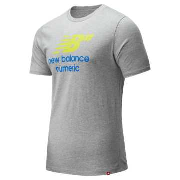 New Balance NB Numeric Logo Stacked Tee, Athletic Grey
