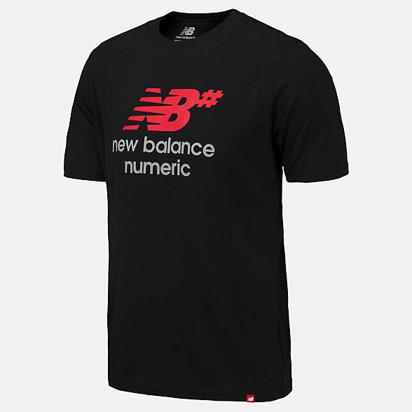 New Balance NB Numeric Logo Stacked Tee, MT93650BK