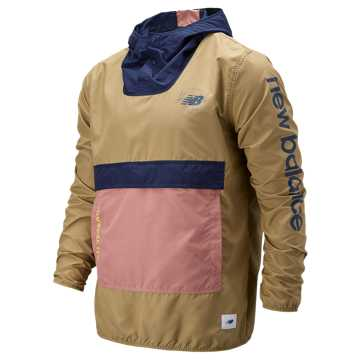New Balance Packable Anorak With Removable Hippack, Kelp with Peacoat & Canyon