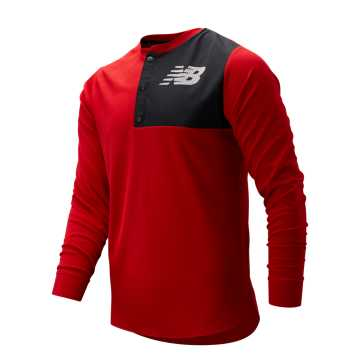 New Balance ASYM Baseball Henley, Team Red