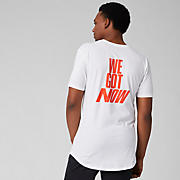 New Balance NB Basketball Finisher Graphic Tee, White with Energy Red