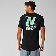 New Balance We Got Now Tee, Black with Neon Emerald