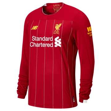 New Balance Liverpool FC Home LS Jersey EPL Patch, Red Pepper with White