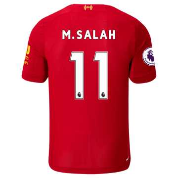 New Balance Liverpool FC Home SS Jersey Salah EPL Patch, Red Pepper with White