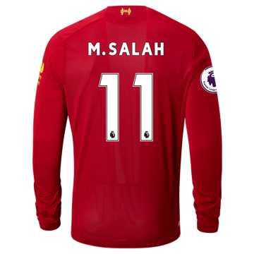 New Balance Liverpool FC Home LS Jersey Salah EPL Patch, Red Pepper with White