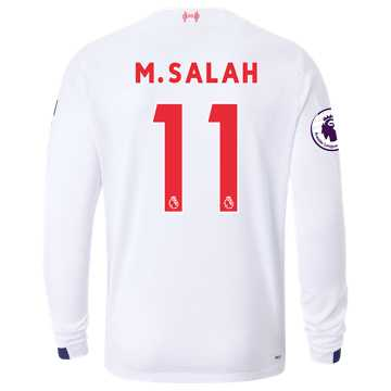 New Balance Liverpool FC Away LS Jersey Salah EPL Patch, White with Navy & Team Red