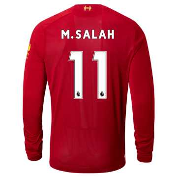 New Balance Liverpool FC Home LS Jersey Salah No EPL Patch, Red Pepper with White